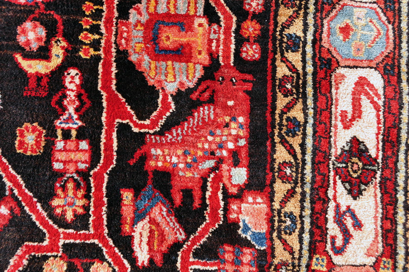 Persian Birds and Red Goats Rug
